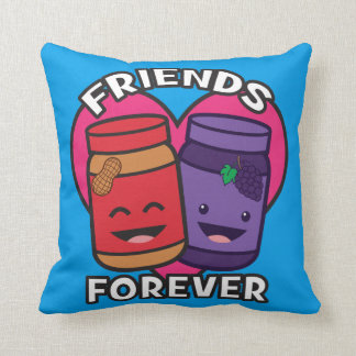 Friends Forever - Peanut Butter And Jelly Kawaii Throw Pillow