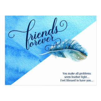 Friends Forever Postcard Blue Watercolor Feather