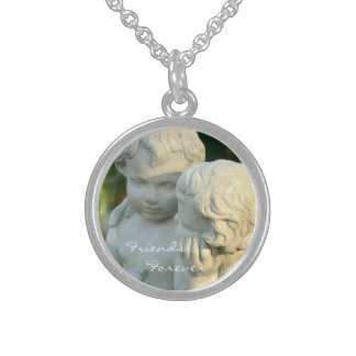 """""""FRIENDS FOREVER -TWO STONE CHERUBS"""" (PHOTOG) ROUND PENDANT NECKLACE"""
