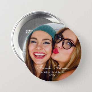 Friends forever | upload photo add names and date 7.5 cm round badge