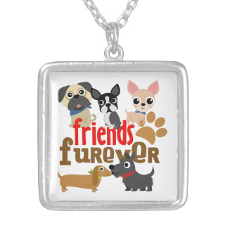 Friends Furever Dogs Puppies Square Pendant Necklace