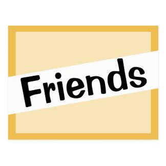 Friends Impress Font Gold Color Postcard
