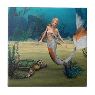 Friends Mermaid und Turtle Small Square Tile
