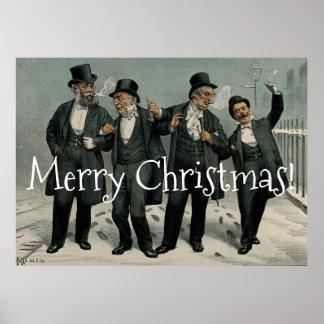 Friends Merry Christmas Celebration Vintage Poster