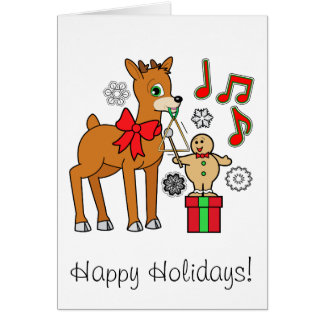Friends,Music:Christmas Gingerbread Boy &Reindeer Greeting Cards