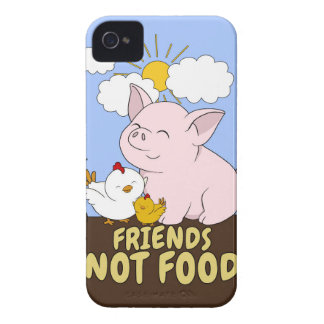 Friends Not Food - Cute Pig and Chicken iPhone 4 Case-Mate Case