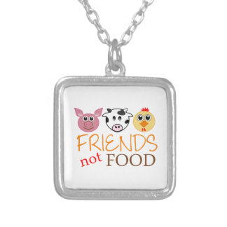 Friends Not Food Square Pendant Necklace
