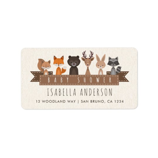 Friends of the Forest Woodland Animals Baby Shower Address Label