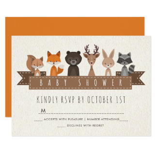 Friends of the Forest Woodland Baby Shower RSVP Card