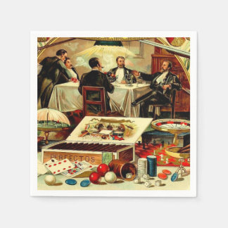 Friends Poker Bachelor Party Vintage Cigar Label Paper Napkin