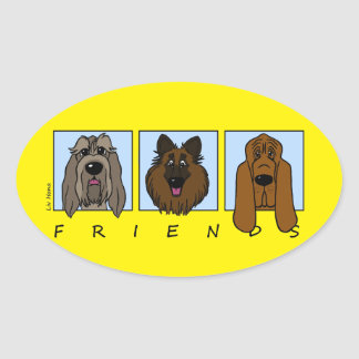 Friends: Spinone Italiano, Tervueren, Bloodhound Oval Sticker