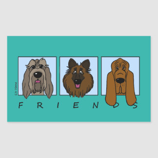 Friends: Spinone Italiano, Tervueren, Bloodhound Rectangular Sticker