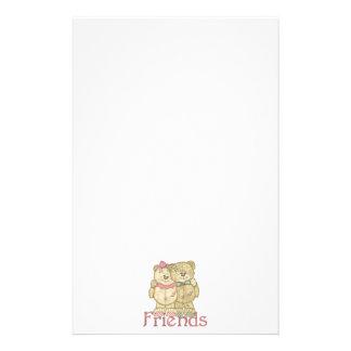 Friends Teddy Bear Pair - Original Colors Personalised Stationery