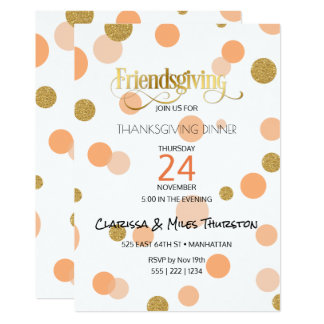 Friendsgiving Orange & Gold Dots Modern 13 Cm X 18 Cm Invitation Card
