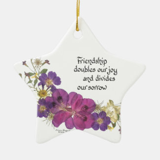 Friendship and flowers christmas tree ornaments