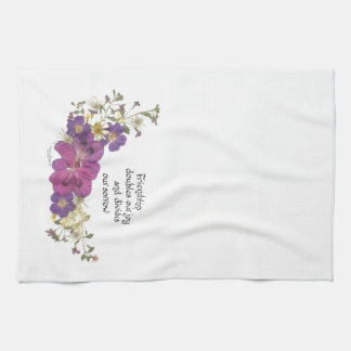 Friendship and flowers tea towel