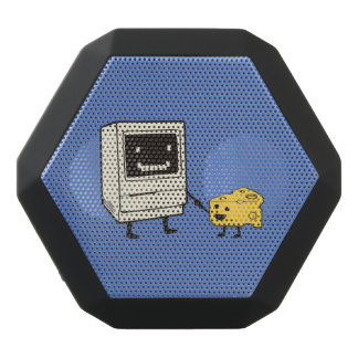 Friendship between computer and cheese black bluetooth speaker