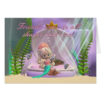 Friendship Card all shapes and sizes cute mermaid