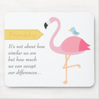 Friendship Cartoon: Pink Flamingo with Blue Bird Mouse Pad
