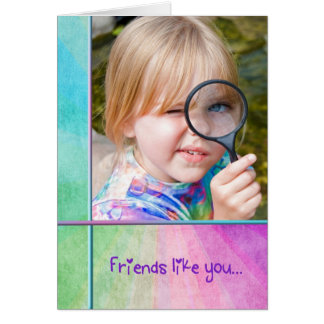 Friendship-girl with magnifying glass card