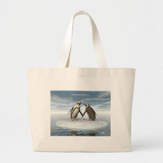 Friendship is essentailly a partnership large tote bag