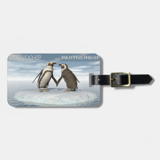 Friendship is essentailly a partnership luggage tag