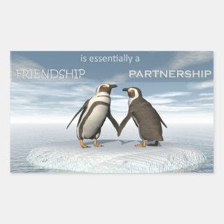 Friendship is essentailly a partnership rectangular sticker
