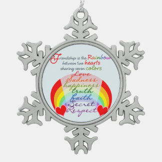 Friendship is the rainbow BFF Saying Design Pewter Snowflake Decoration