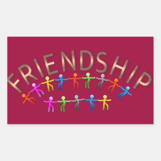 Friendship, Kids Holding Hands Design Rectangular Sticker