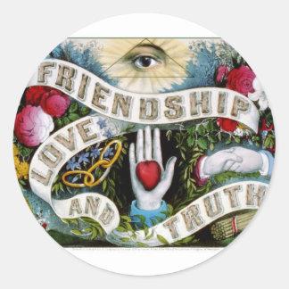 Friendship, love and truth (1874) classic round sticker