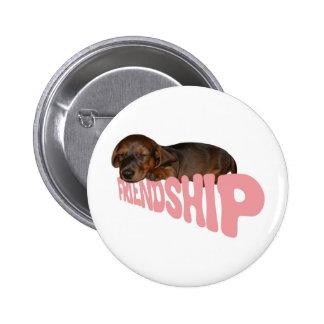 Friendship puppy / dog is man's best friend, pink 6 cm round badge