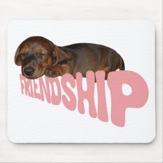 Friendship puppy / dog is man's best friend, pink mouse pad
