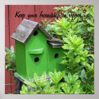 Friendship Quote Emerson Vintage Antique Green Bir Poster