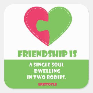 Friendship soul & body unique quote square sticker