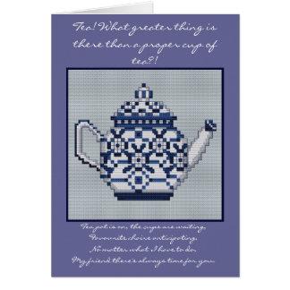 FRIENDSHIP TEA Cross Stitch Style Design Card