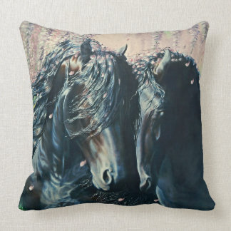 Friesian black stallion and mare in wisteria cushion