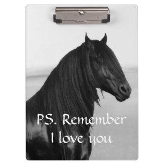 Friesian black stallion horse clipboard