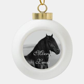 Friesian black stallion horse ornaments