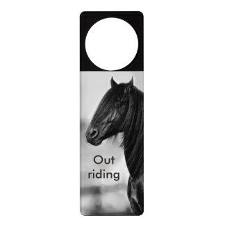 Friesian black stallion horse door hangers