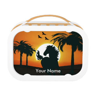 Friesian black stallion horse lunch box