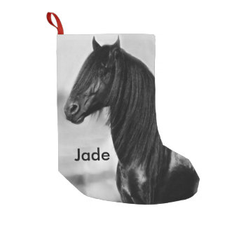 Friesian black stallion horse small christmas stocking