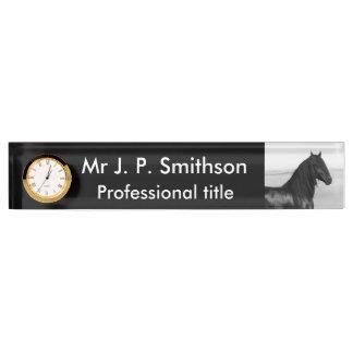 Friesian black stallion horse name plate