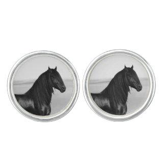 Friesian black stallion horse cufflinks