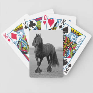 Friesian black stallion horse bicycle playing cards