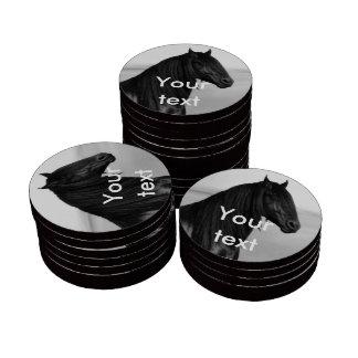 Friesian black stallion horse poker chip set