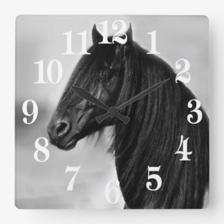 Friesian black stallion horse square wall clock