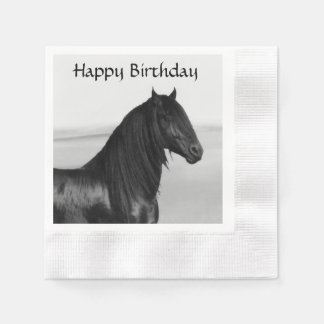 Friesian black stallion horse disposable napkin