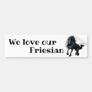 Friesian, black stallion/ We love our Friesian Bumper Sticker