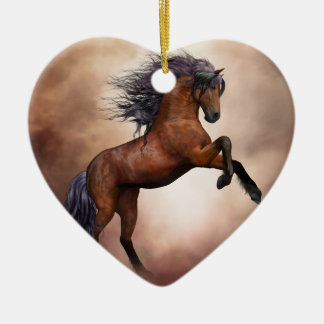 Friesian brown horse rearing up with misty clouds ceramic ornament