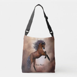 Friesian brown horse rearing up with misty clouds crossbody bag